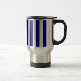 Stripes - White and Dark Blue Mugs