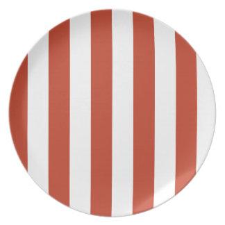 Stripes - White and Dark Pastel Red Dinner Plates