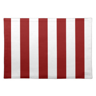 Stripes - White and Dark Red Place Mats