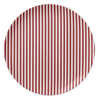 Stripes - White and Dark Red Plate