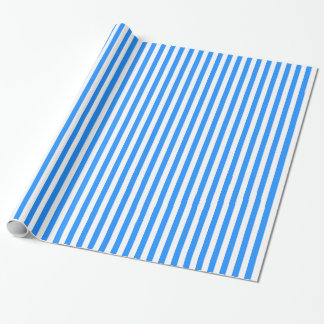 Stripes - White and Dodger Blue Wrapping Paper