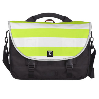 Stripes - White and Fluorescent Yellow Bags For Laptop