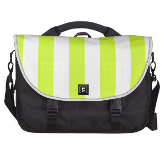 Stripes - White and Fluorescent Yellow Laptop Computer Bag