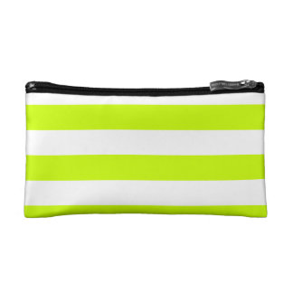 Stripes - White and Fluorescent Yellow Makeup Bags