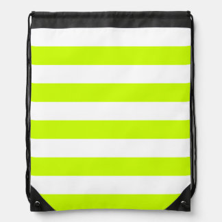 Stripes - White and Fluorescent Yellow Backpack