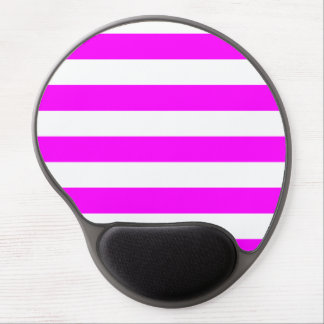Stripes - White and Fuchsia Gel Mouse Pads