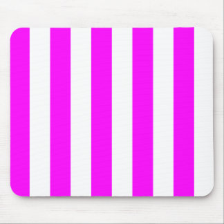 Stripes - White and Fuchsia Mouse Pads