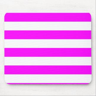 Stripes - White and Fuchsia Mouse Pad