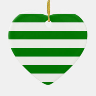 Stripes - White and Green Christmas Tree Ornaments