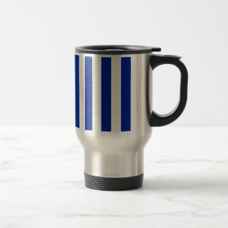 Stripes - White and Imperial Blue Coffee Mugs