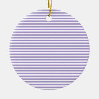 Stripes - White and Light Pastel Purple Round Ceramic Decoration