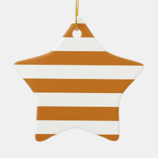 Stripes - White and Ochre Christmas Ornament