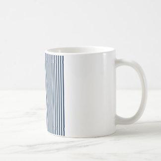 Stripes - White and Oxford Blue Coffee Mug