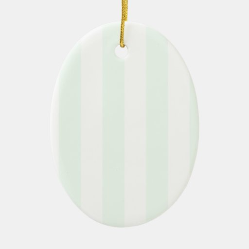 Stripes - White and Pastel Green Christmas Ornament