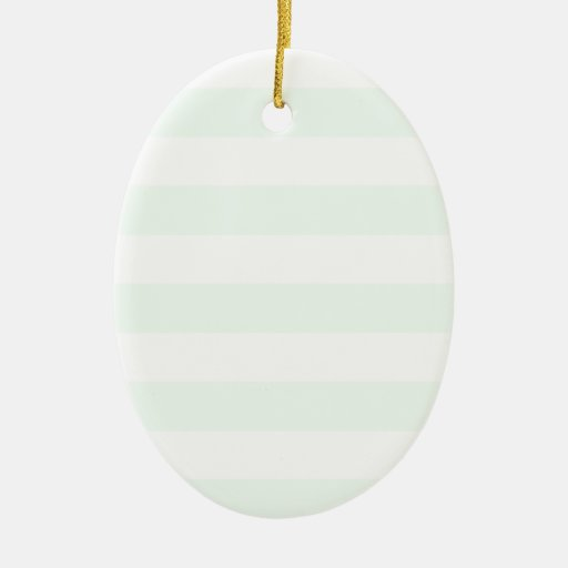 Stripes - White and Pastel Green Ornament