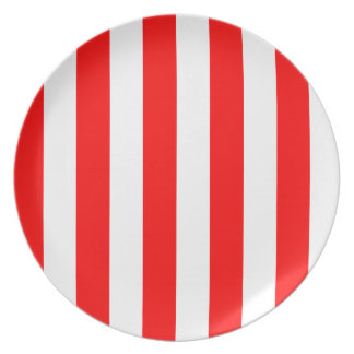 Stripes - White and Red Dinner Plates