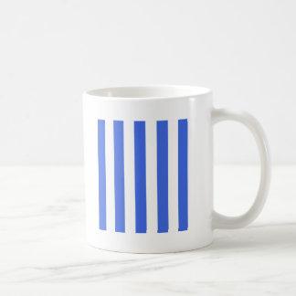 Stripes - White and Royal Blue Mugs