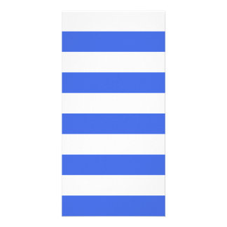 Stripes - White and Royal Blue Personalized Photo Card