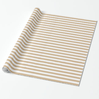 Stripes - White and Tan Brown Wrapping Paper