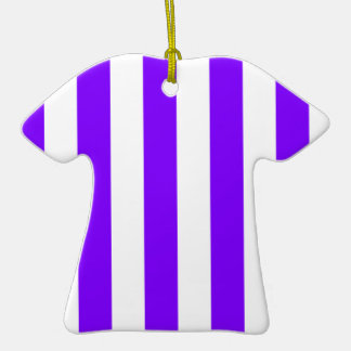 Stripes - White and Violet Christmas Ornaments