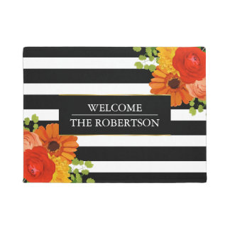 Stripes With Colorful Flowers Doormat