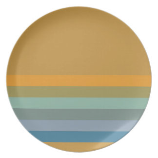 Stripes - Yellow Blue Lavender Olive Green Aqua Plate