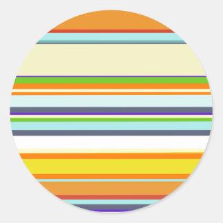 Stripey Autumn Colors Round Sticker