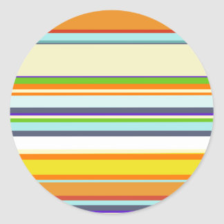 Stripey Autumn Colors Round Stickers
