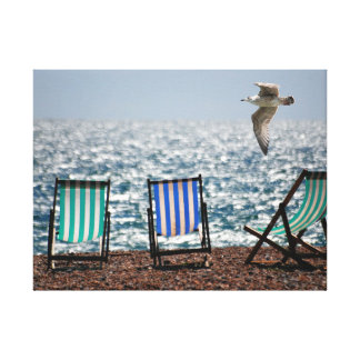 Stripey Deckchairs and Seagull Gallery Wrap Canvas