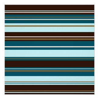 Stripey Design Brown Teals Cream & Gold