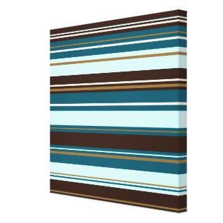 Stripey Design Brown Teals Cream & Gold Gallery Wrap Canvas