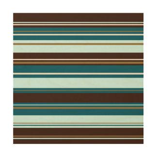 Stripey Design Brown Teals Cream & Gold Wood Canvas