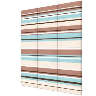 Stripey Design Browns Blue Cream & White Gallery Wrap Canvas