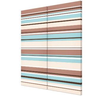 Stripey Design Browns Blue Cream & White Canvas Print