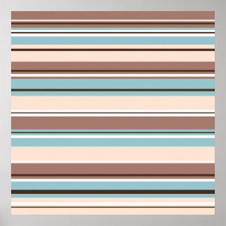 Stripey Design Browns Blue Cream & White Poster