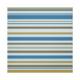 Stripey Design Gold Cream Brown Blues Canvas Prints