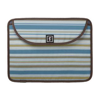 Stripey Design Gold Cream Brown Blues Sleeve For MacBook Pro