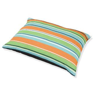 Stripey Design Green Blues Orange & White Pet Bed