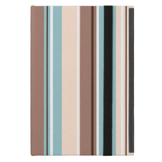 Stripey Design Vertical Browns Blue Cream & White Case For iPad Mini