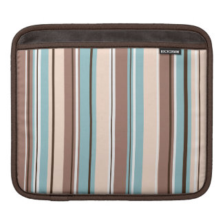 Stripey Design Vertical Browns Blue Cream & White iPad Sleeve