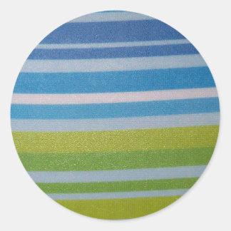 Stripey green! round sticker