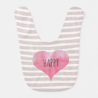 Stripey Happy Heart Bib