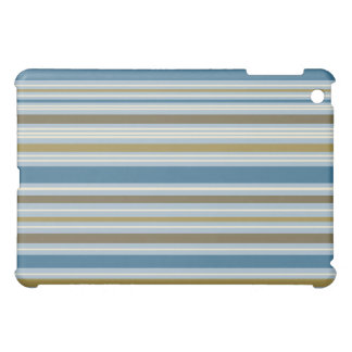 Stripey Horizontal Design Gold Cream Brown Blues Case For The iPad Mini