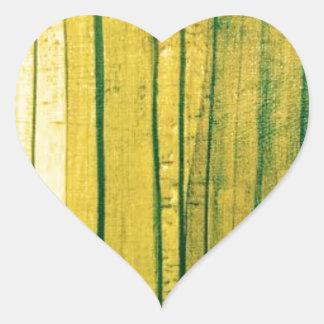 Stripey lime-green texture heart sticker