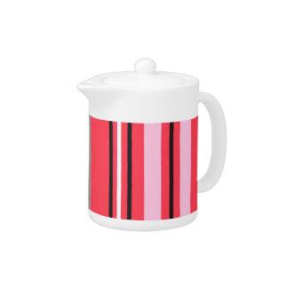 Stripey Pink Teapot