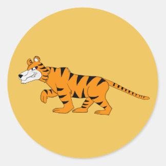 Stripey tiger round sticker