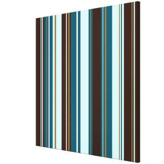 Stripey Vertical Design Brown Teals Cream & Gold Canvas Print