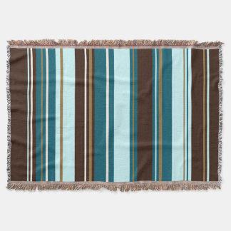 Stripey Vertical Design Brown Teals Cream & Gold Throw Blanket
