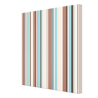 Stripey Vertical Design Browns Blue Cream & White Gallery Wrapped Canvas