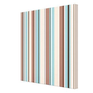 Stripey Vertical Design Browns Blue Cream & White Canvas Print